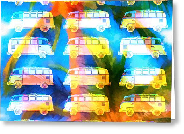 Surfing Art Greeting Cards - VW Surfer Van Palm Tree Greeting Card by Edward Fielding