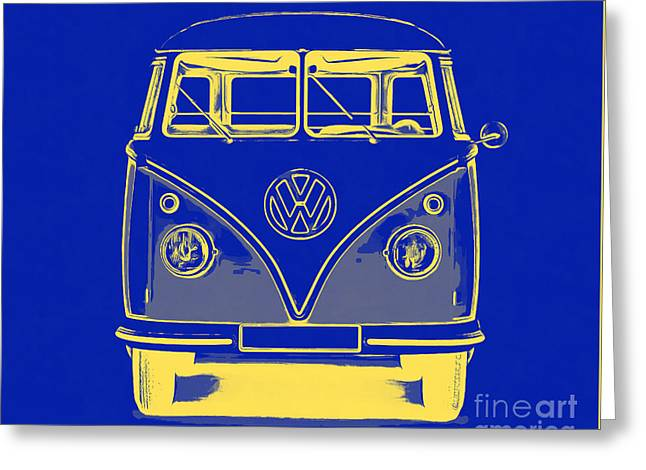 Design Drawings Greeting Cards - VW Van Blue Yellow Graphic Greeting Card by Edward Fielding