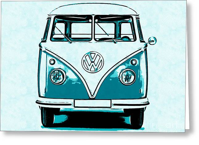 Design Drawings Greeting Cards - VW Van Graphic Artwork Greeting Card by Edward Fielding