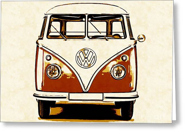 Design Drawings Greeting Cards - VW Van Graphic Artwork Orange Greeting Card by Edward Fielding