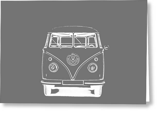 Design Drawings Greeting Cards - VW Van Graphic Artwork Tee White Greeting Card by Edward Fielding