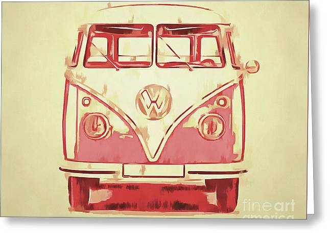 Design Drawings Greeting Cards - VW Van Graphic Artwork Yellow Red Greeting Card by Edward Fielding