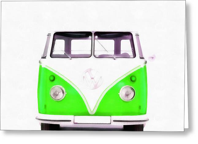 American Automobiles Greeting Cards - VW Van Green Painting Greeting Card by Edward Fielding