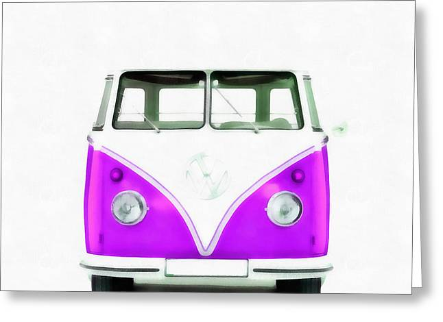 American Automobiles Greeting Cards - VW Van Purple Painting Greeting Card by Edward Fielding