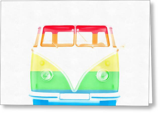 American Automobiles Greeting Cards - VW Van Rainbow Greeting Card by Edward Fielding