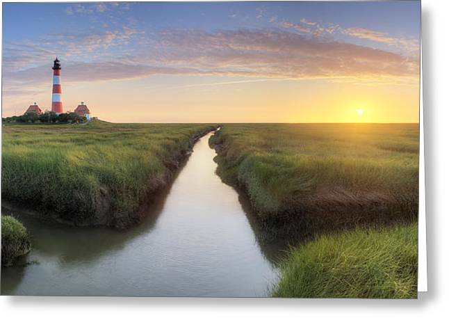 Lighthouse Sunset Greeting Cards - W E S T E R H E V E R Greeting Card by Marco Rank