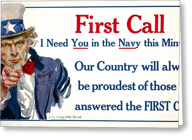 Enlistment Greeting Cards - W W 1  Uncle Sam Navy Recruitment Poster 1917 Greeting Card by Daniel Hagerman