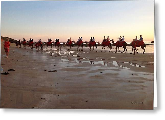 Abstract Beach Landscape Drawings Greeting Cards - Wa Broome Beach Australia Greeting Card by Bushra Yousaf