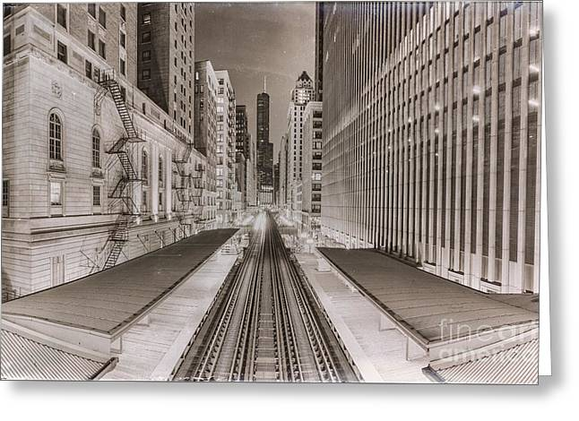 Wabash And Adams -l- Cta Station And Trump International Tower Hotel At Dawn- Chicago Ilinois Greeting Card by Silvio Ligutti