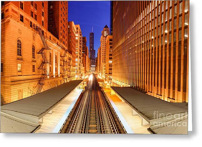 Wabash And Adams -l- Cta Station And Trump International Tower Hotel At Dawn- Chicago Illinois Greeting Card by Silvio Ligutti