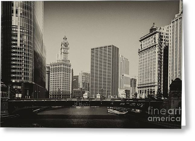 City Buildings Greeting Cards - Wabash Avenue Greeting Card by Andrew Paranavitana