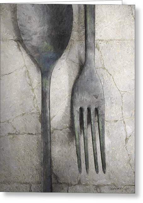 Dining Room Digital Greeting Cards - Wabi Sabi Utensils Greeting Card by Cynthia Decker