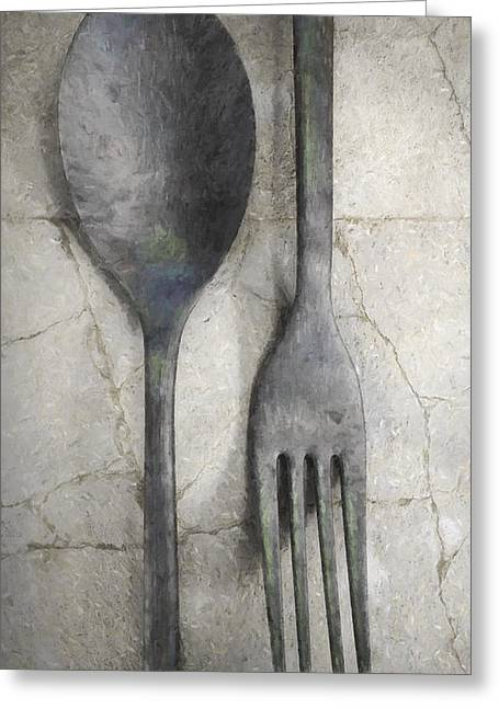 Dining Room Digital Art Greeting Cards - Wabi Sabi Utensils Greeting Card by Cynthia Decker