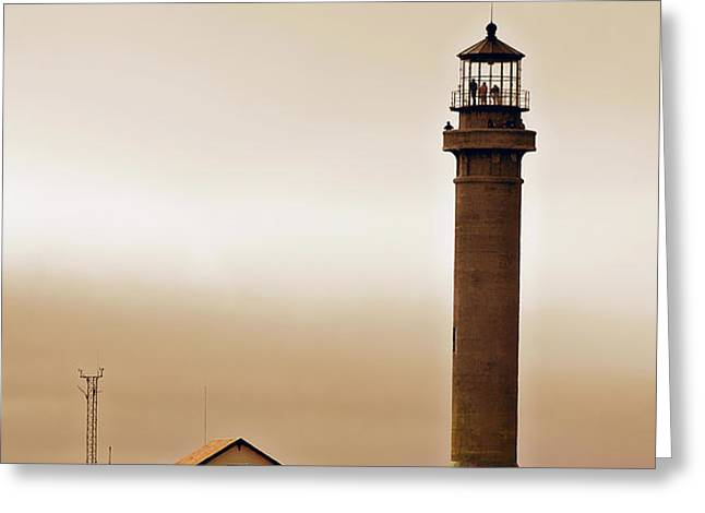 Wacky Weather at Point Arena Lighthouse - California Greeting Card by Christine Till