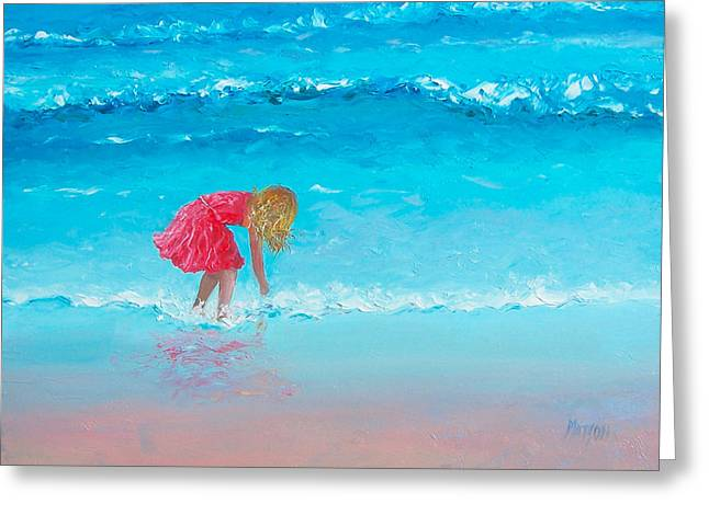 Beach Themed Paintings Greeting Cards - Wading Greeting Card by Jan Matson