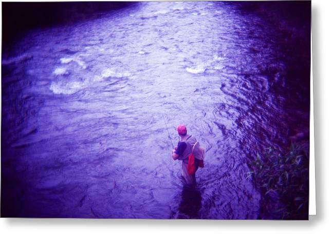 Colorado Flyfisherman Greeting Cards - Wading Patiently Greeting Card by Matthew Lit