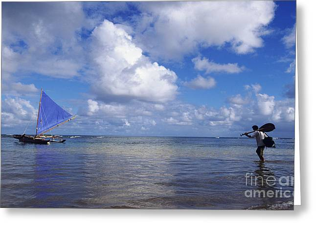 Wading to Outrigger Greeting Card by Joss - Printscapes