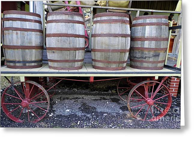 Wooden Train Print Greeting Cards - Wagon At The Depot Greeting Card by D Hackett