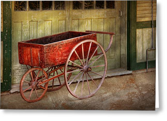 Wagon - That old red wagon  Greeting Card by Mike Savad