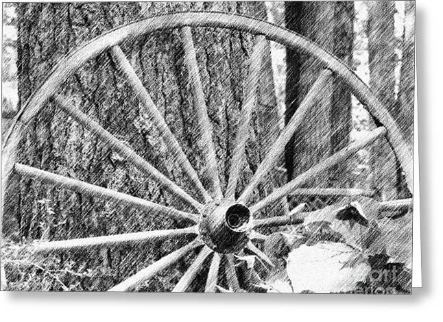 Wagon Wheel In Pencil Greeting Card by Smilin Eyes  Treasures