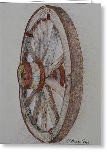 Wagon Wheels Drawings Greeting Cards - Wagon Wheel Greeting Card by Janet Chapp