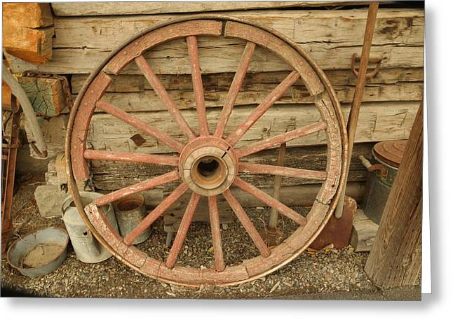 Wooden Wagons Photographs Greeting Cards - Wagon Wheel Greeting Card by Jeff  Swan
