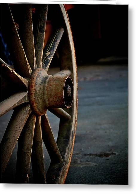 Wooden Wheels Greeting Cards - Wagon Wheel Greeting Card by Odd Jeppesen