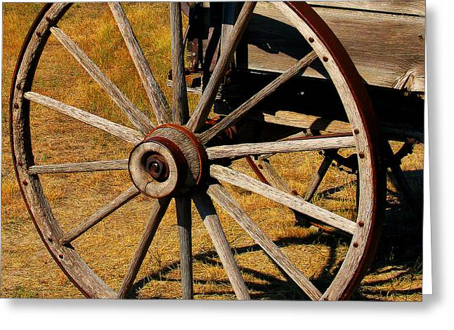 Wagon Wheel Greeting Card by Perry Webster