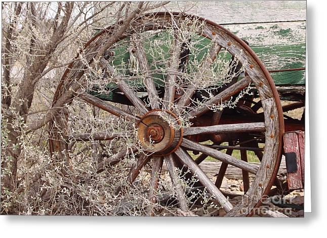 Wagon Wheel Greeting Card by Robert Frederick