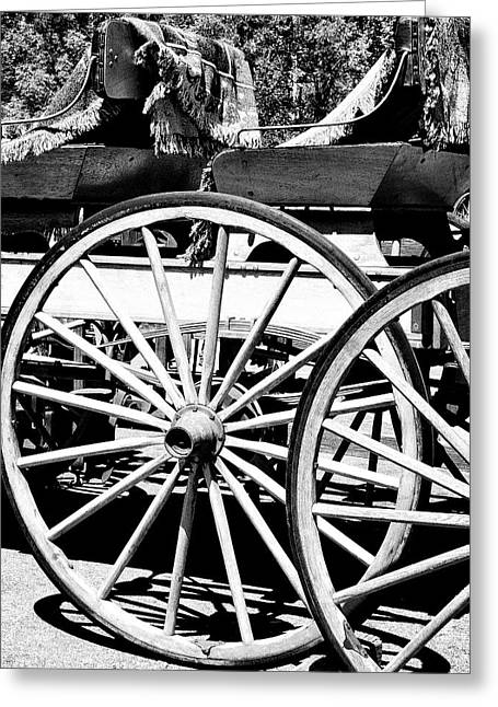 Wagon Wheels Greeting Cards - WAGON WHEELS Apple Valley Greeting Card by William Dey