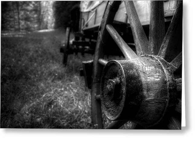 Wagon Wheels In Black And White Greeting Card by Greg Mimbs