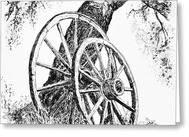 Wagon Wheels Drawings Greeting Cards - Wagon Wheels Greeting Card by Judy Sprague