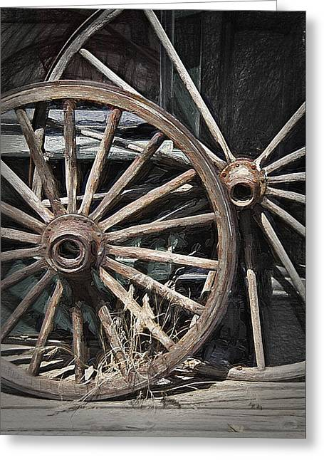 Wooden Wagons Mixed Media Greeting Cards - Wagon Wheels - Pioneer Village Greeting Card by Steve Ohlsen