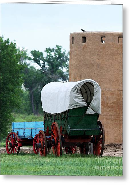 Historic Site Greeting Cards - Wagons at Bents Fort in Colorado Greeting Card by Catherine Sherman