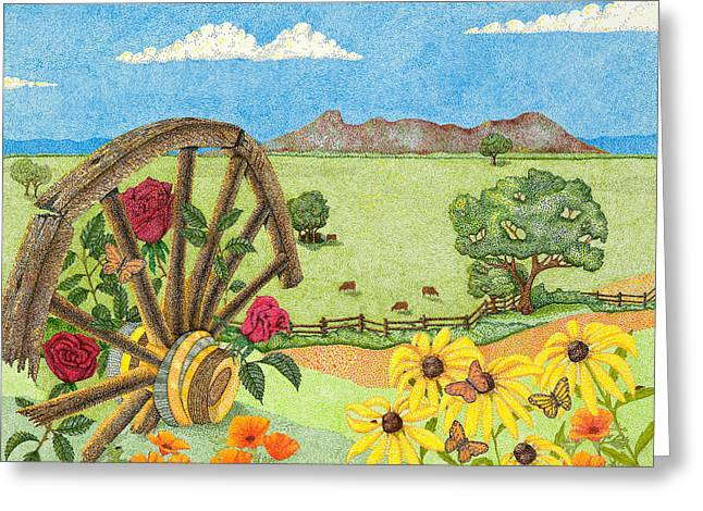 Wagon Wheels Drawings Greeting Cards - Wagons West Greeting Card by Judy Cheryl Newcomb