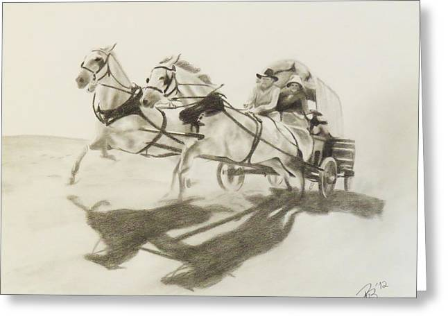 Horse And Cart Drawings Greeting Cards - Wagons West Greeting Card by Rachel Beck