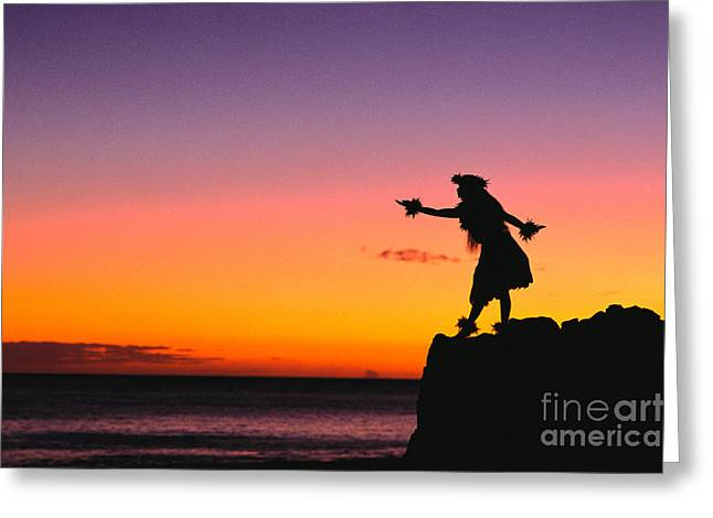 Recently Sold -  - Amazing Sunset Greeting Cards - Wahine Hula Dancer Greeting Card by William Waterfall - Printscapes
