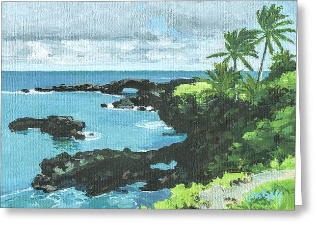 Wai'anapanapa Black Sand Beach Greeting Card by Stacy Vosberg