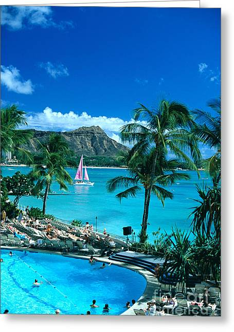 Waikiki And Sailboat Greeting Card by Tomas del Amo - Printscapes
