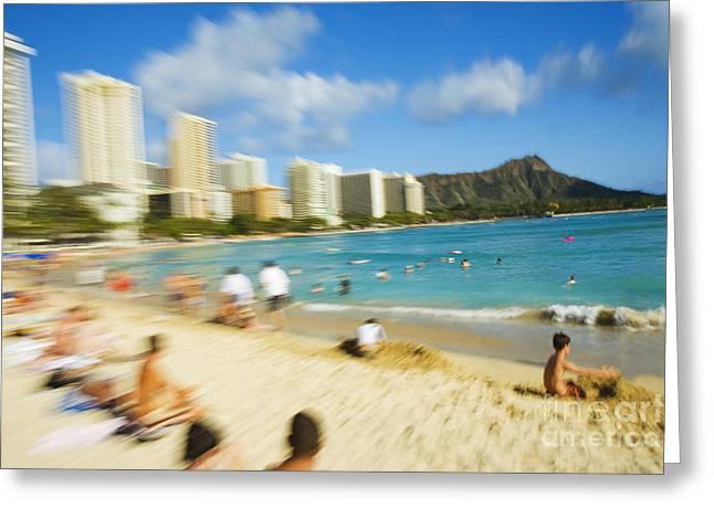 Sunbathing Greeting Cards - Waikiki Blur Greeting Card by Dana Edmunds - Printscapes