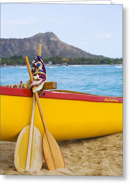 Overhang Greeting Cards - Waikiki Canoe Paddles Greeting Card by Dana Edmunds - Printscapes