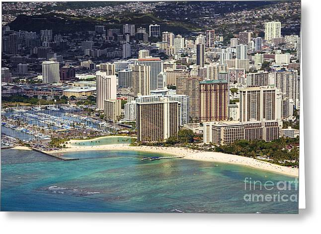 Waikiki From Above Greeting Card by Ron Dahlquist - Printscapes