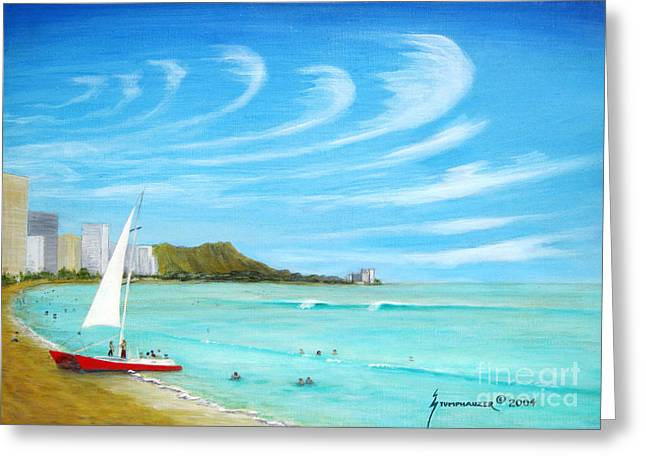 Blue Green Wave Greeting Cards - Waikiki Greeting Card by Jerome Stumphauzer