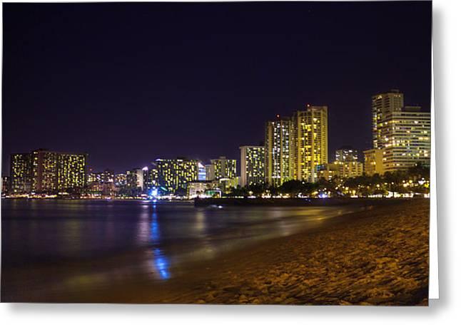 Recently Sold -  - Moon Beach Greeting Cards - Waikiki Night Lights Greeting Card by Trent Oshiro