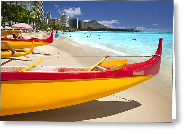 Waikiki Greeting Cards - Waikiki Outriggers Greeting Card by Sean Davey