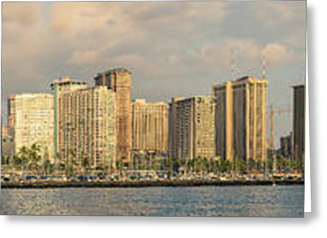 Sailboat Images Greeting Cards - Waikiki Panorama 1 Greeting Card by Leigh Anne Meeks
