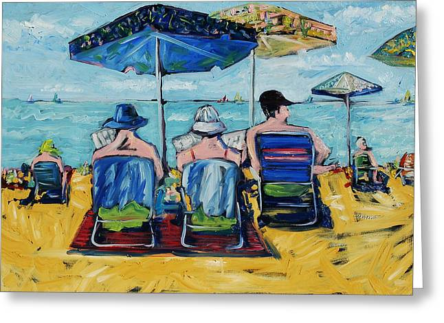 Beach Towel Mixed Media Greeting Cards - Waikiki Greeting Card by Russell Pierce