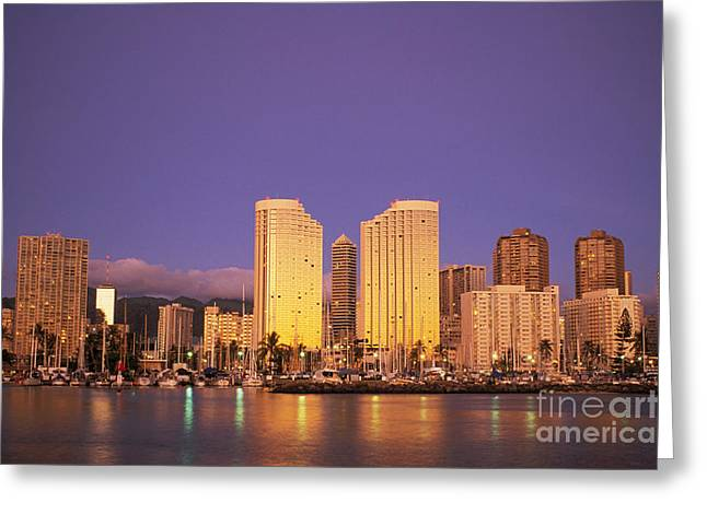 Ala Moana Greeting Cards - Waikiki Skyline Greeting Card by Peter French - Printscapes