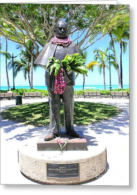 Bronce Greeting Cards - Waikiki Statue - Prince Kuhio Greeting Card by Mary Deal