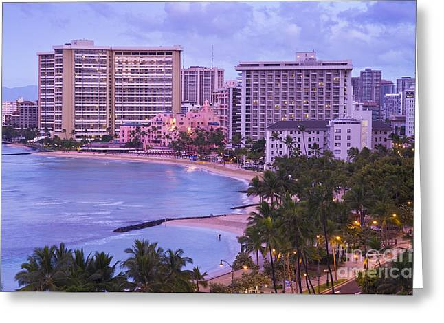 Streetlight Greeting Cards - Waikiki Sunrise Greeting Card by Greg Vaughn - Printscapes